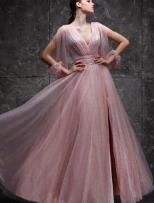 Вечернее розовое фатиновое длинное платье