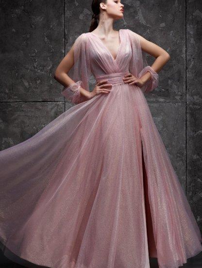 Вечернее розовое фатиновое длинное платье, фото 1