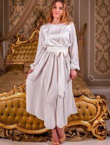 Шелковое светлое платье миди с поясом и длинным рукавом