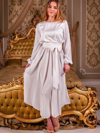 Шелковое светлое платье миди с поясом и длинным рукавом, фото 1
