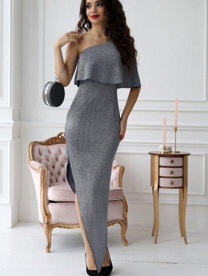 Нарядное блестящее платье на одно плечо, фото 1