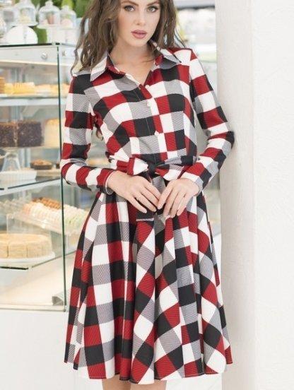 Повседневное платье в клетку на длинный рукав с расклешенной юбкой, фото 1