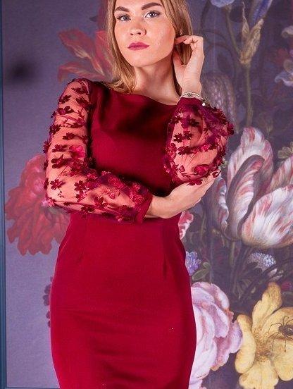 Бордовое платье по фигуре с поясом и принтованным рукавом длины миди, фото 1