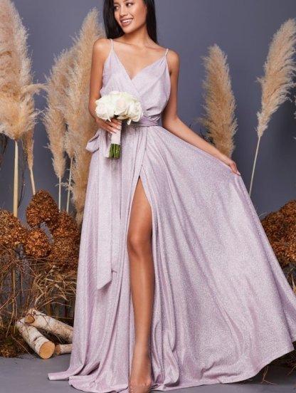 Нарядное длинное розовое блестящее платье с декольте, фото 1