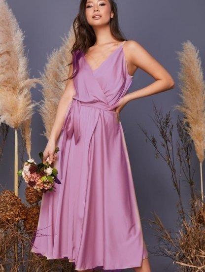 Длинное розовое шелковое коктейльное платье на бретелях, фото 1