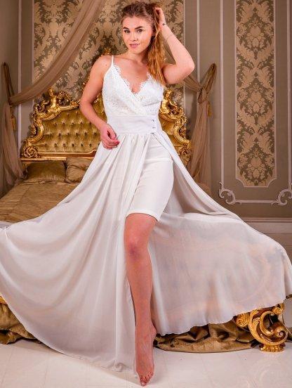 Вечернее кружевное белое платье со съемной пышной юбкой, фото 1
