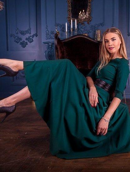 Вечернее зеленое платье на длинный рукав, фото 1