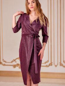 Блестящее платье миди с имитацией запаха и рукавом 3\4
