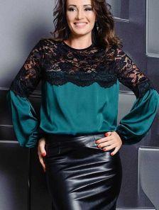 Оригинальная шелковая блуза с кружевом