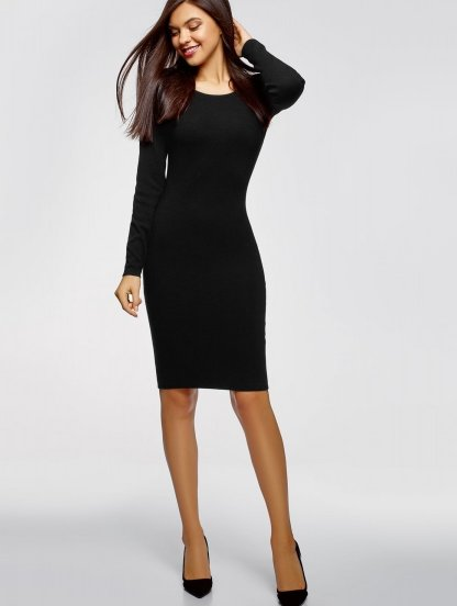 Черное платье-футляр на длинный рукав миди-длинны, фото 1