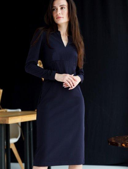 Классическое темное платье футляр ниже колена, фото 1