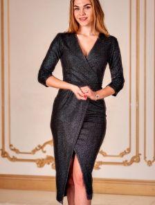 Вечернее черное коктейльное платье с имитацией запаха и рукавом 3\4