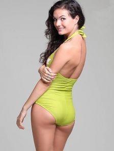 Женский спортивный купальник с цветочным принтом