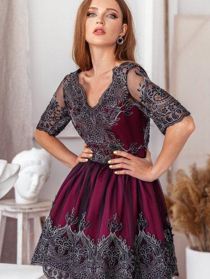 Короткое нарядное коктейльное кружевное платье на выпускной, фото 1