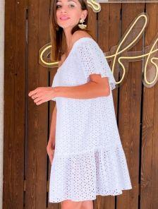 Короткое летнее белое платье с воланами из хлопка