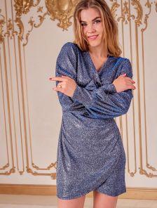 Блестящее короткое серо-синее платье на запах