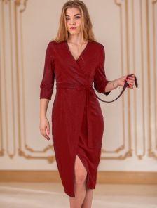 Вечернее бордовое платье с имитацией запаха и рукавом 3\4