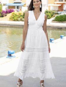 Хлопковое белое нарядное платье сарафан на лето