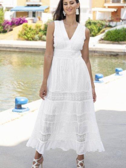 Хлопковое белое нарядное платье сарафан на лето, фото 1