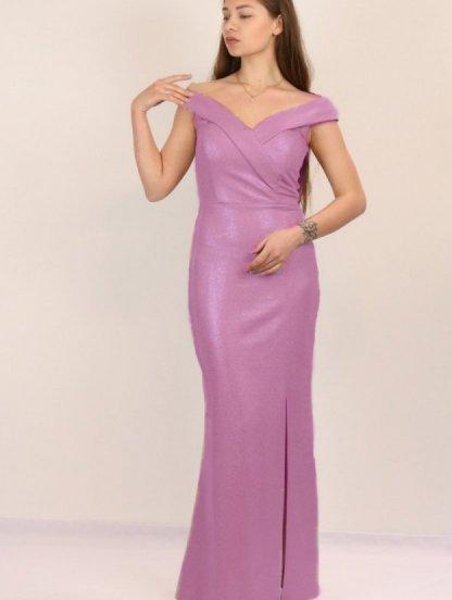 Розовое блестящее длинное платье с разрезом и открытыми плечами, фото 1