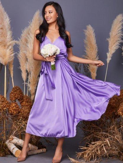 Сиреневое летнее шелковое коктейльное платье миди, фото 1