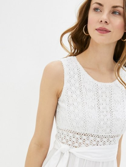 Хлопковое длинное белое нарядное платье с кружевом, фото 1