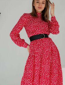 Красное платье миди с белым принтом на длинный рукав