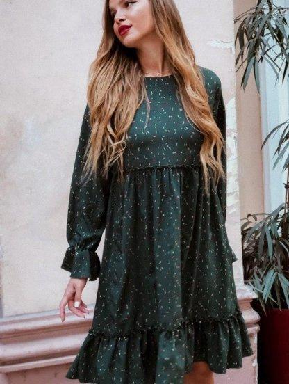 Яркое летнее зелёное платье с принтом и оборкой до колен, фото 1