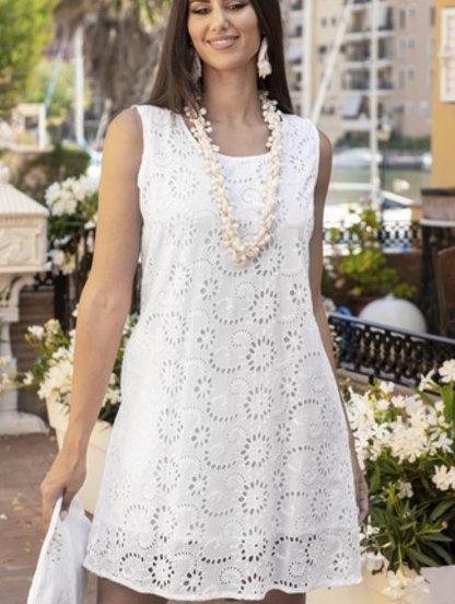 Белое хлопковое свободное платье, фото 1