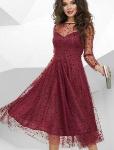Вечернее бордовое фатиновое платье