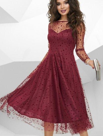 Вечернее бордовое фатиновое платье, фото 1