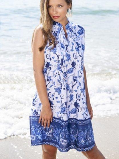 Туника платье с V образным вырезом на лето, фото 1