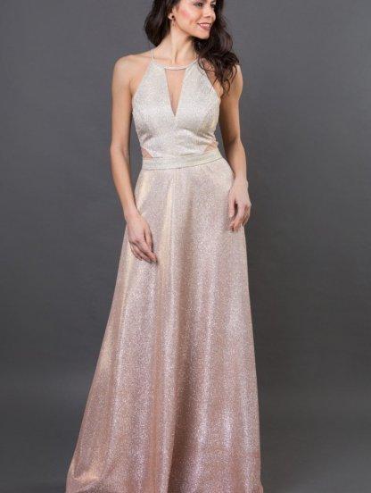 Длинное нарядное золотое платье в пол, фото 1