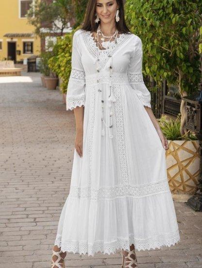 Хлопковое нарядное белое нарядное платье с кружевом и рукавом 3/4, фото 1