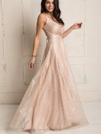 Длинное нарядное свадебное блестящее вечернее платье цвета айвори, фото 1