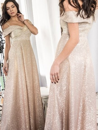 Длинное нарядное золотистое вечернее платье на выпускной с разрезом, фото 1