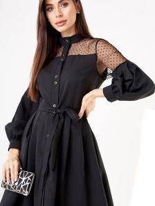 Нарядное черное короткое платье с объемным рукавом и сеткой