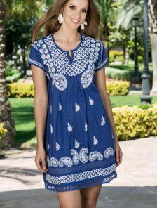 Натуральное тонкое платье туника с коротким рукавчиком