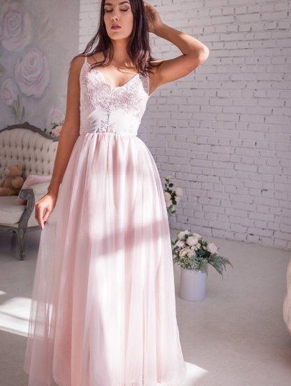 Вечернее кружевное пудровое платье с фатиновой юбкой, фото 1
