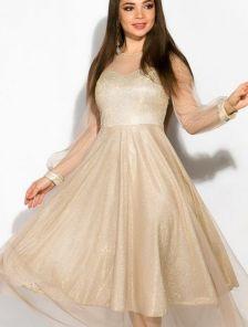 Нарядное золотое расклешенное блестящее платье с сеткой