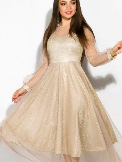 Нарядное золотое расклешенное блестящее платье с сеткой, фото 1