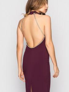 Нарядное платье с открытой спиной цвета марсала