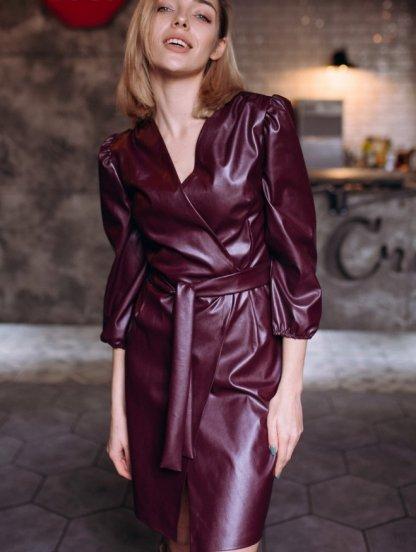 Короткое кожаное платье, фото 1