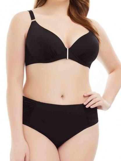Раздельный черный купальник с высокими трусиками и чашкойс на большую грудь, фото 1