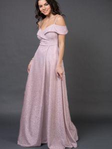 Длинное нарядное вечернее платье на выпускной с разрезом