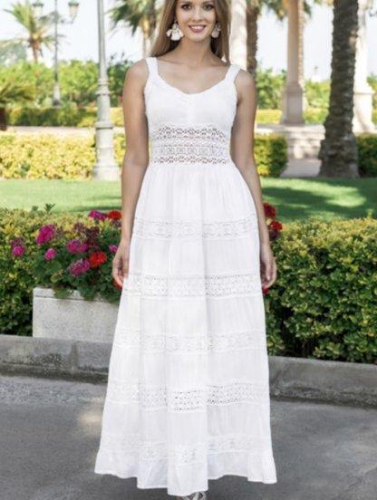 Хлопковое длинное белое нарядное платье на бретелях с кружевом на лето, фото 1
