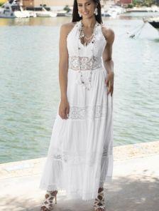 Хлопковое длинное белое нарядное платье с открытой спиной на лето