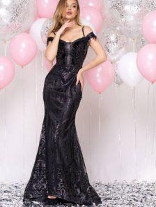 Длинное черное нарядное блестящее вечернее платье на выпускной