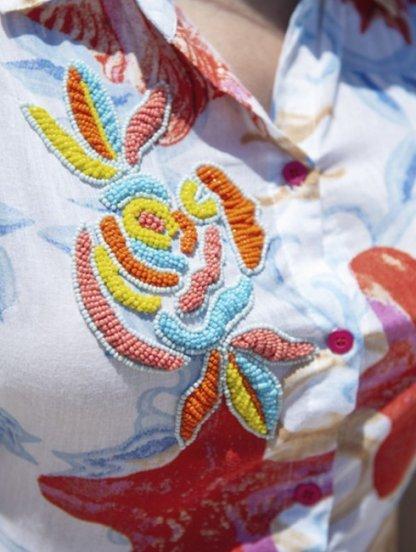 Хлопковое летнее нарядное платье рубашка с морским принтом и вышивкой бисером, фото 1