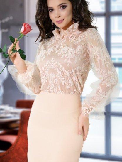 Нарядное короткое платье с кружевным верхом, фото 1